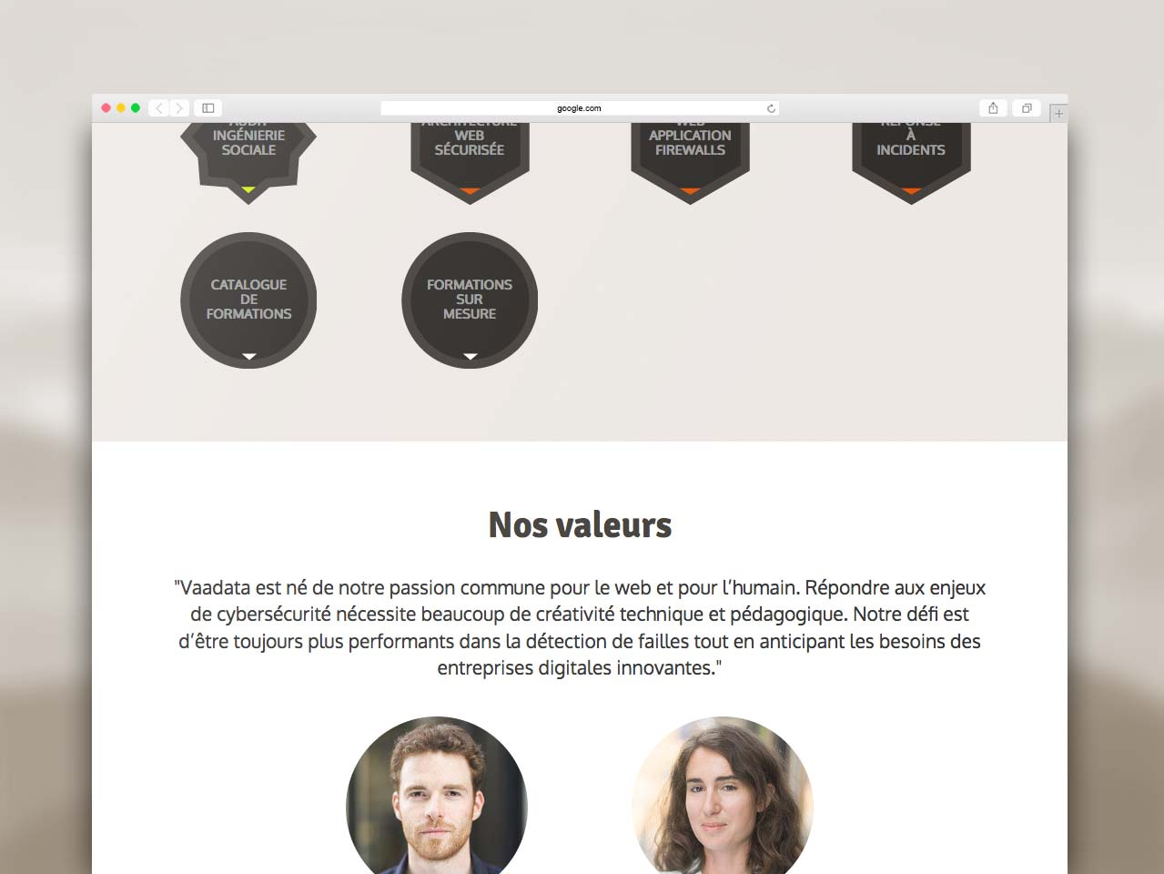 Webdesign section Valeurs site Vaadata