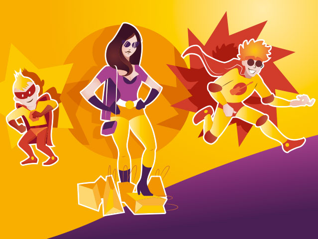 Illustration vectorielle Concept jeu super hero
