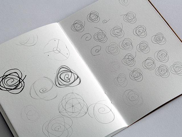Recherche graphique et crayonnés du logotype