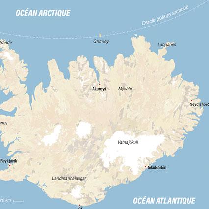 Carte illustrator Infographie Islande